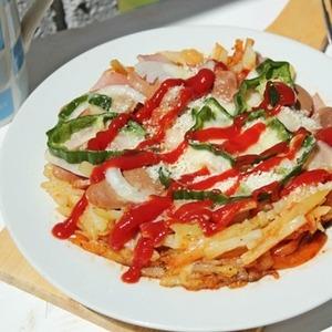 Dùng lò vi sóng chế biến pizza khoai tây
